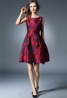 Robe de soirée courte en jacquard à motifs fleuris CY133