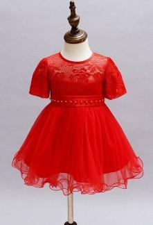Robe cortège enfant rouge à manches courtes