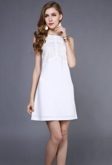 Petite robe blanche en sobriété  et simplicité réf YY7616