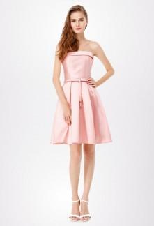 Robe de soirée à bustier rond rose pastel réf EP5577