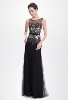 PROMO - Robe de bal noire avec encolure rond - Réf EP8602