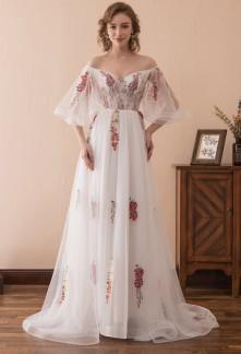 Robe de soirée blanche motif fleurs rouge- réf SQ606