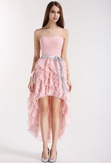 Robe de cocktail asymétrique rose poudré Réf 1672 SUR DEMANDE