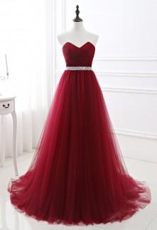 Robe de soirée rouge longue tulle princesse