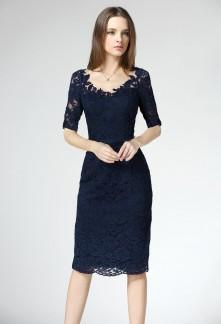 Elégante robe de soirée style fourreau aux manches courtes Réf 1612