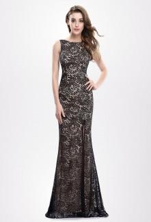 Robe de soirée noire/beige esprit glamour Réf EP8859