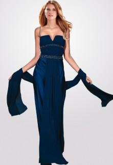 Constance - robe de soirée simple col V