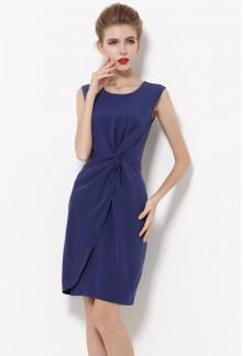 Robe de cocktail bleu genoux réf YY7613