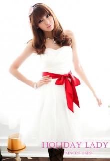 Robe de soiree blanc et rouge