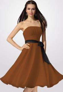 Robe soiree marron beige