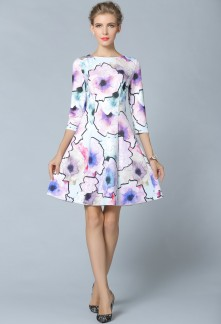 Robe courte imprimé floral avec manches mi-longues ref YY7603