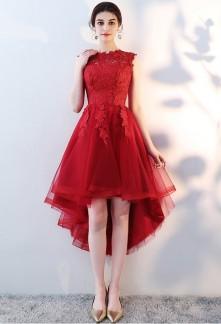 Robe de cocktail rouge mi longue