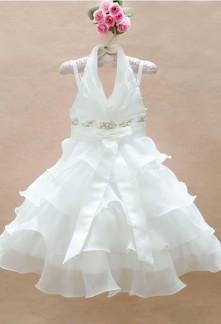 DESTOCKAGE - Elisa - Robe de cortège enfant blanche brodée perlée – réf. EF002