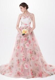 Robe de soirée imprimé florale à bretelles- réf SQ405-sur demande