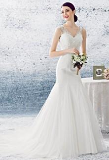 Robe de mariée sirène à bretelles perles