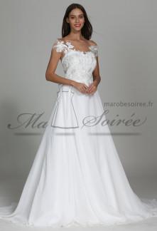Robe de mariée dentelle bustier cœur fluide vaporeuse
