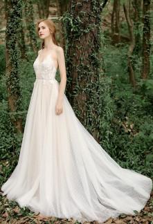 robe de mariée champêtre tulle à pois