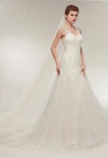 Robe de mariée ivoire bretelles sirène