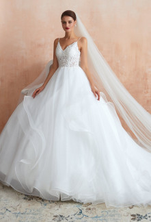 Robe de mariée princesse bustier transparent tulle princesse