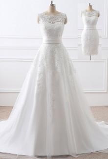 Robe de mariée courte longue en dentelle