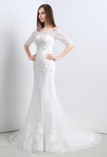 Robe de mariée manches mi-longues réf SQ107 - sur demande