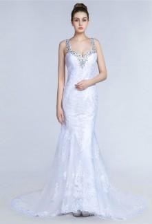 Robe de mariée fourreau dentelle à bretelles strass