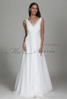 Robe de mariée bohème à bretelles décolleté