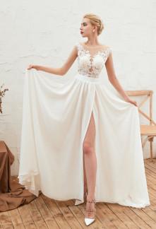 robe de mariée fluide effet transparent