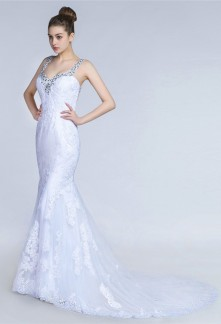 Robe de mariée à bretelles dos nu dentelle
