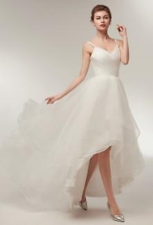 Robe de mariée asymétrique tulle bretelles