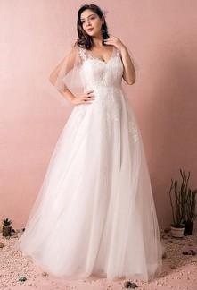 Robe de mariée ivoire dentelle à manches larges