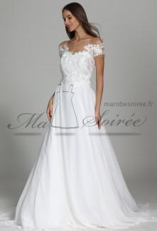 robe de mariée manches courtes en dentelle