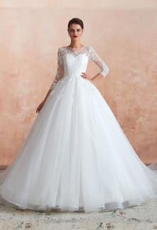 Robe de mariée princesse manches longues