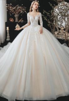 Robe de mariée manches longues princesse