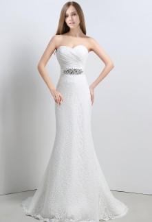 Robe de mariée simple en dentelle fourreau