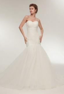 Robe de mariée sirène bustier drappé
