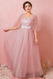 Robe de soirée rose poudré tulle sur dentelle blanche