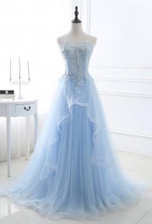 Robe de cérémonie princesse bleu pastel- réf SQ401
