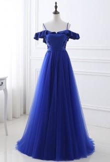 Robe de soirée bleu roi épaules dénudées- réf SQ423