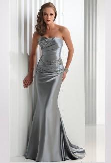 robe de soirée argenté bustier strass drapée sirène