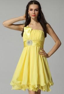 Robe de cocktail jaune pale