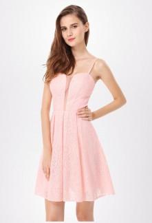 Robe de soirée courte rose pastel fines bretelles EP5579