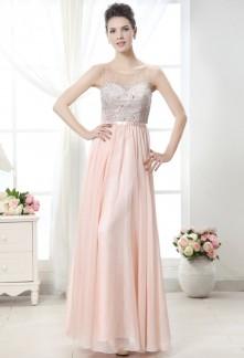 robe de soirée longue fluide rose nude