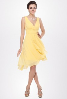 Robe de cocktail jaune pastel