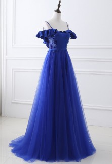 robe de soirée bleu roi bretelles tombantes