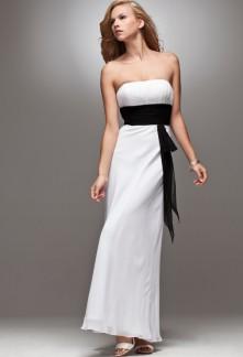 robe de soirée longue en mousseline ceinturée