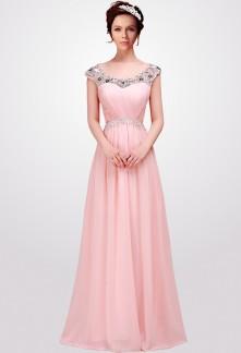 robe de soirée longue rose pastel strass aux épaules - sur demande réf 4101