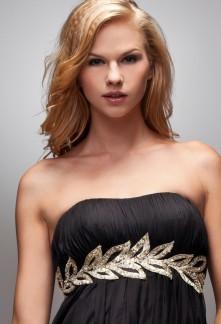 ce2fb39e1fc2 hebe - robe de soirée noir ceinturé par des feuilles d or