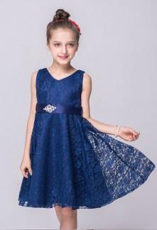 Robe petite fille ceremonie bleu marine