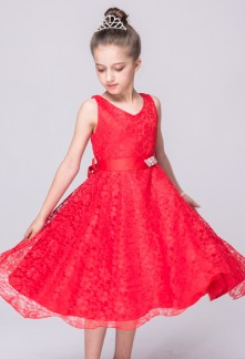 Robe ceremonie petite fille rouge